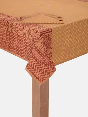 Brown Printed Cotton Tablecloth Set