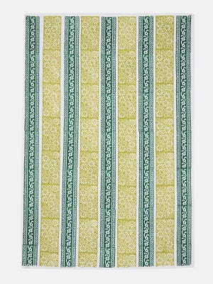 White Printed Cotton Tablecloth