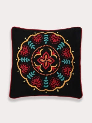 Black Embroidered Cotton Cushion Cover
