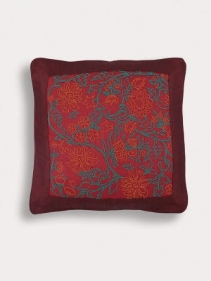 Red Embroidered Mixed Silk Chosha Cushion Cover