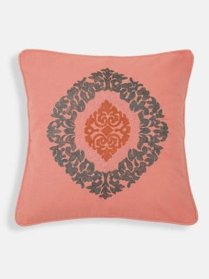 Coral Embroidered Cotton Cushion Cover