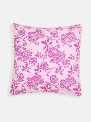 Light Pink Printed Cotton Cushion Cover