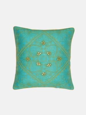 Turquoise Embroidered Mixed Silk Cushion Cover