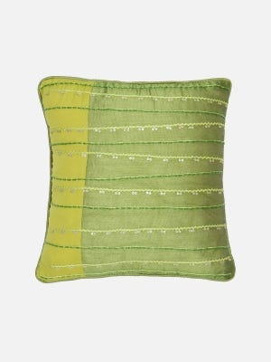 Olive Green Embroidered Dupioni Silk Cushion Cover