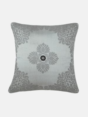 Grey Embroidered Mixed Cotton Cushion Cover