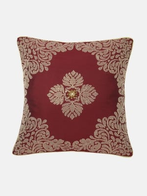 Maroon Embroidered Mixed Cotton Cushion Cover