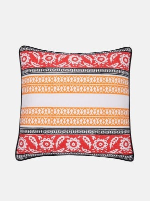 Off White Printed Cotton Cushion Cover
