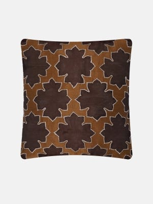 Brown Embroidered Dupioni Cushion Cover