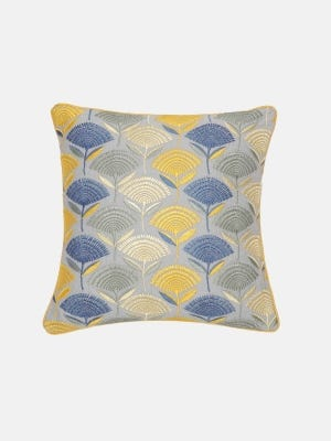 Grey Embroidered Cotton Cushion Cover