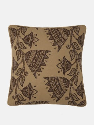 Light Brown Printed Cotton Cushion Cover