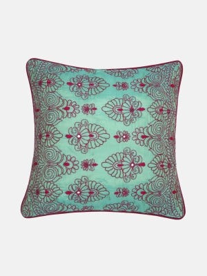 Green Embroidered Cushion Cover