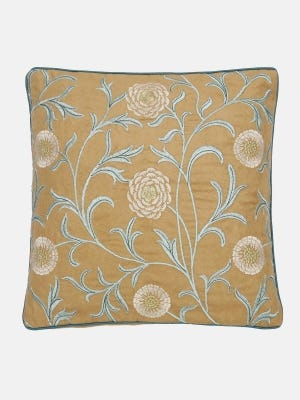 Light Brown Embroidered Suede Velvet Cushion Cover