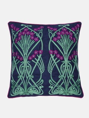 Navy Blue Embroidered Suede Velvet Cushion Cover