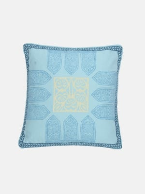 Sky Blue Printed Cotton Cushion Cover