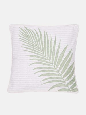 White Printed and Embroidered Cotton Cushion Cover