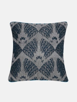 Deep Grey Embroidered Cushion Cover