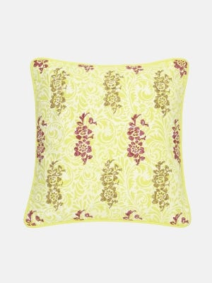 Yellow Printed Cotton Cushion Cover