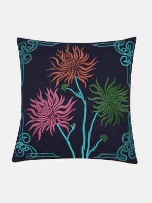 Navy Blue Embroidered Cushion Cover