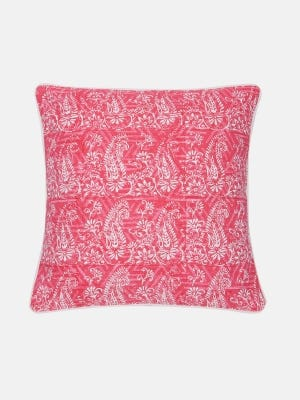 Pink Printed Cotton Cushion Cover