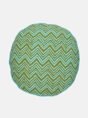 Pastel Blue Printed Cotton Cushion Cover