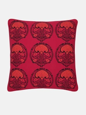Red Printed Cotton Cushion Cover