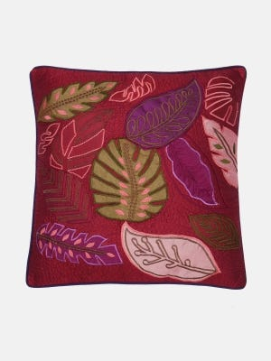 Burgundy Embroidered Cushion Cover
