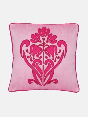 Pink Embroidered Mixed Silk Chosha Cushion Cover