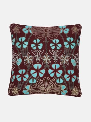 Plum Embroidered Cushion Cover