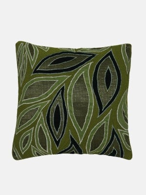 Olive Green Appliqued Mixed Silk Cushion Cover