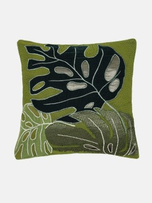 Olive Mixed Embroidered Cotton Cushion Cover