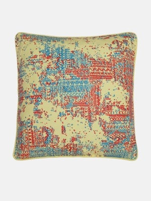 Pastel Yellow Printed Cotton Cushion Cover