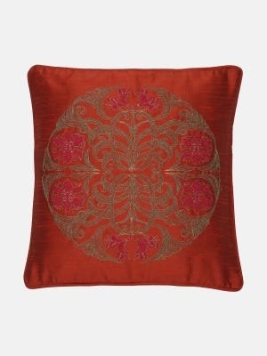 Rust Embroidered Cushion Cover