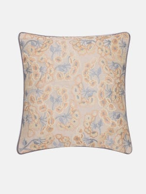 Ivory Embroidered Dupioni Cushion Cover