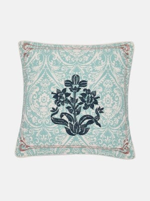 Ivory Printed and Embroidered Cushion Cover