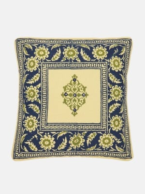 Light Yellow Printed Cotton Cushion Cover