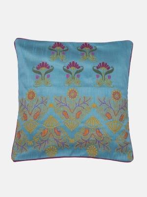 Light Blue Embroidered Cushion Cover