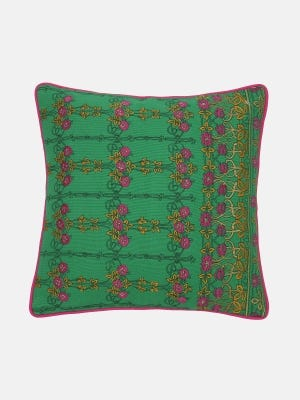 Green Printed and Embroidered Cotton Cushion Cover
