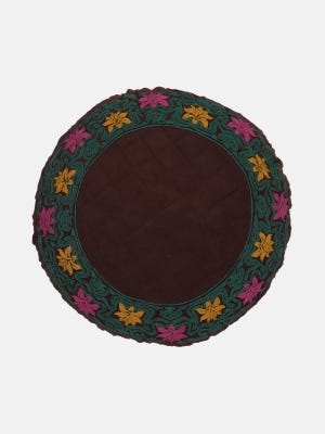 Deep Brown Embroidered Cushion Cover