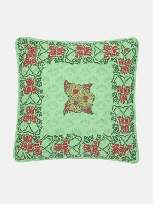 Light Green Printed Cotton Cushion Cover