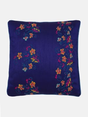 Blue Embroidered Mixed Cotton Cushion Cover