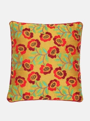 Mustard Yellow Embroidered Cushion Cover