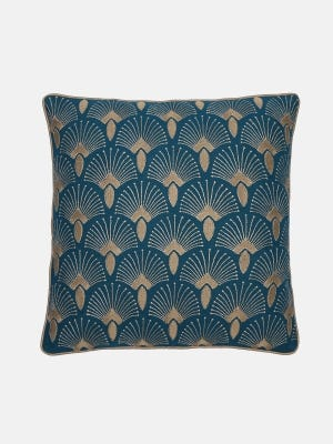 Teal Embroidered Cotton Cushion Cover