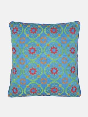 Deep Blue Embroidered Cushion Cover