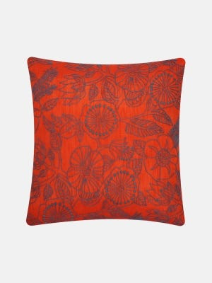 Orange Embroidered Mixed Cotton Cushion Cover