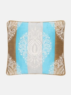 Brown Embroidered Cushion Cover