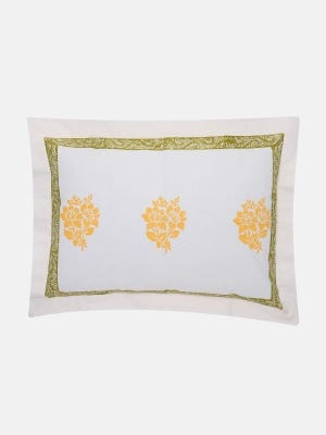 White Printed Cotton Pillow Cover (24 by 18 Inch)