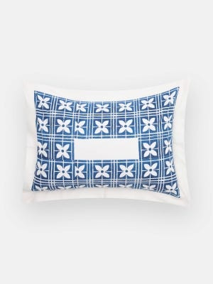 White Printed Kora Cotton Pillow Cover (18 by 24 Inch)
