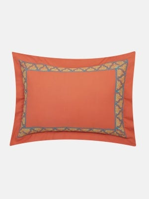 Orange Printed Cotton Pillow Cover (18 by 24 Inch)