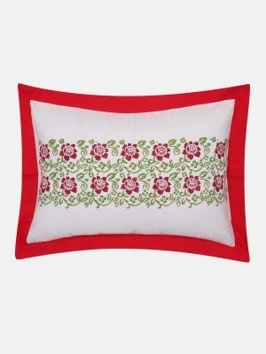 White Printed Cotton Pillow Cover (18 by 24 Inch)
