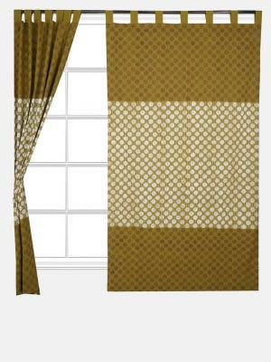 Mustard Printed Cotton Curtain